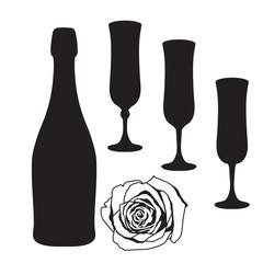 Champagne silhouette clip art