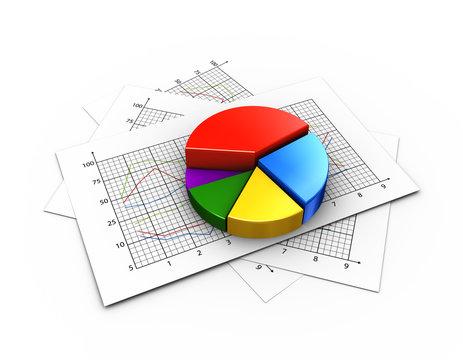 3d pie chart on graph paper