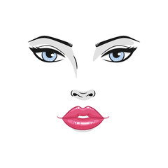 Beautiful young woman face with red lips and blue eyes. Fashion model  face close up, vector illustration.