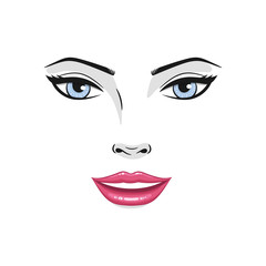 Beautiful young woman smiling face with red lips and blue eyes. Fashion model smiling face close up, vector illustration.