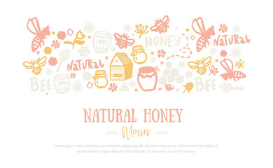 Modern honey banner .Grunge yellow advertising with two sides pattern. Organic design template