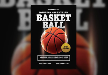 Flyer Layout with Basketball Illustration