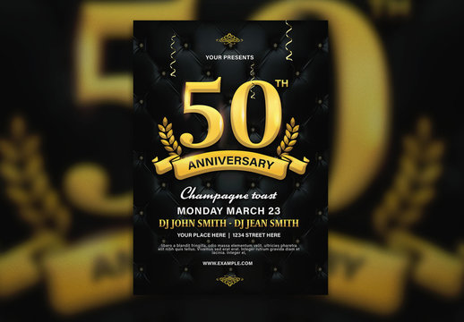Flyer Layout with Dark Background and Gold Accents
