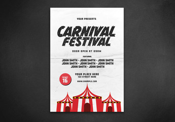 Flyer Layout with Carnival Tent Illustration