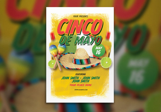 Event Flyer Layout with Sombrero and Maracas Illustrations