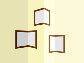 Photo frames at the corners of the room walls. Vector