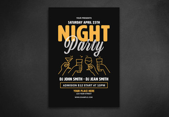 Flyer Layout with Orange Line Art Illustration