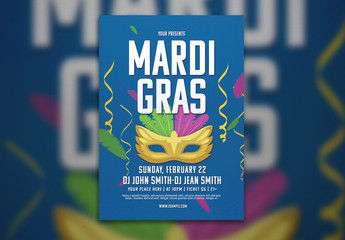 Flyer Layout with Mardi Gras Mask Illustration