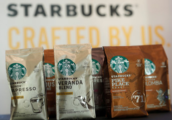 Starbucks labeled coffee bags are displayed after a news conference at Nestle's headquarters in Vevey