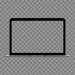 Laptop with transparent screen mock up. Vector