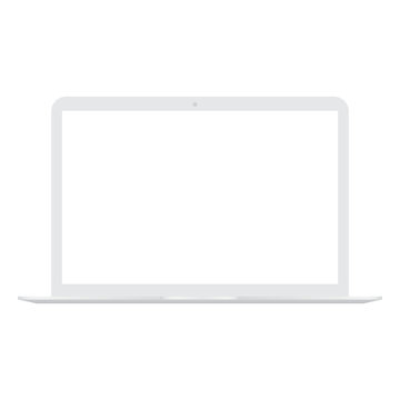 White Laptop with white screen mock up. Vector.