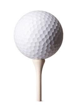 White golf ball on tee on white background