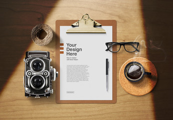 Letterhead on Clipboard with Vintage Accessories Mockup