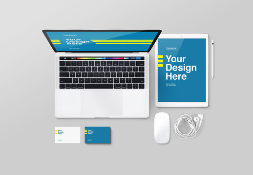 Laptop and Tablet with Accessories Mockup