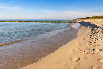 Beautiful coastline of Baltic Sea with sandy beach. Poland
