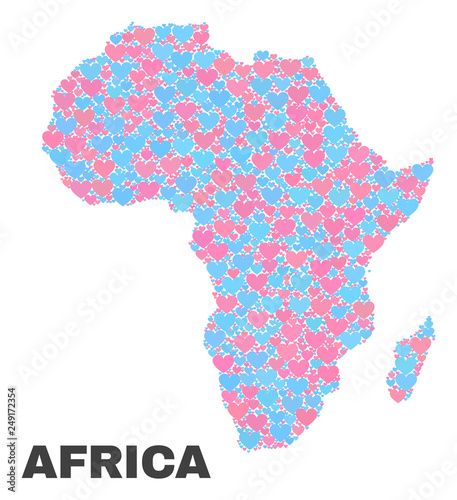 Shape Of Africa Map.Mosaic Africa Map Of Love Hearts In Pink And Blue Colors Isolated On