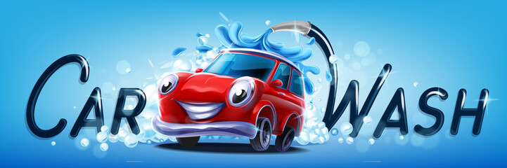 Tuinposter Cartoon cars car wash vector banner