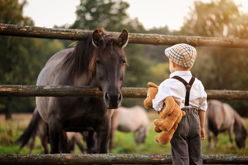 A four-year-old boy dressed in retro style is standing back holding a teddy bear and looking at a horse