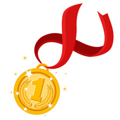 Gold medal for first place with red ribbon on a white.