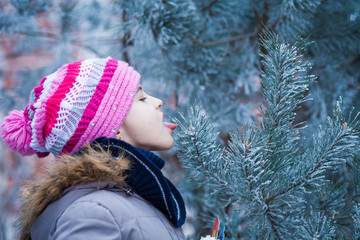 girl in colorful hat licks the frost from the needles of a Christmas tree