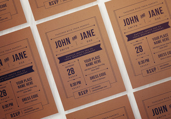 Vintage Wedding Invitation Layout with Kraft Paper