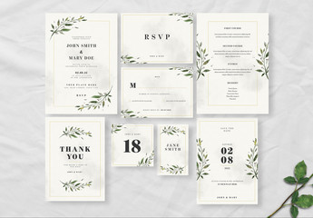 Leaf Wedding Suite with Watercolor Background