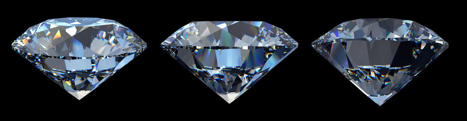 Three blue round diamonds, side view, various camera angles, isolated on black background.