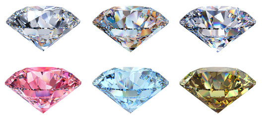 Six clear, pink, blue, yellow round cut diamonds, side view isolated on white background