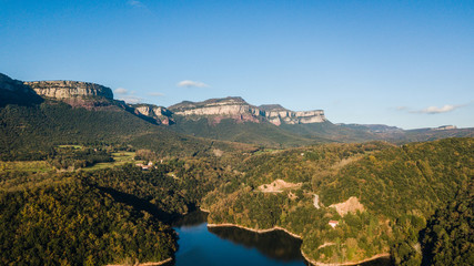 Aerial view of Sau Reservoir (Province of Osona, Catalonia, Spain).