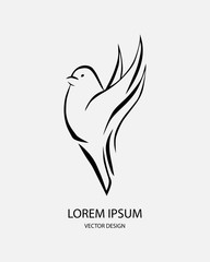 Logo and label for design your project. Bird icon. Grey lettering, calligraphy vector illustration isolated on white background