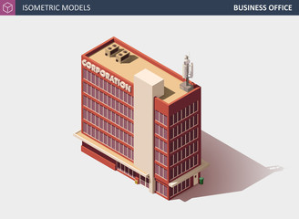 Business Office or Commercial Building - Vector Isometric Illustration.