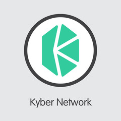 KNC - Kyber Network. The Logo of Money or Market Emblem.