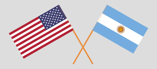 Argentina and USA. The Argentinean and United States of America flags. Official colors. Correct proportion. Vector