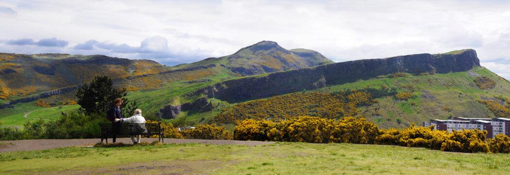 A panoramic shot of Arthurs Seat in Edinburgh. Classic scottish view