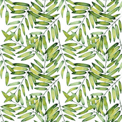 Seamless watercolor pattern, handmade on a white background. Tropical green leaves, hand-painted with watercolor. Hand painted exotic green branches. Botanical illustration. For design, print.