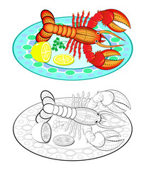 Colorful and black and white page for coloring book. Illustration of delicious lobster on a dish in a restaurant. Printable worksheet for children and adults. Vector cartoon image.