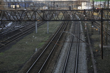 Railway tracks, lines. Train tracks. Railroad. Railway infrastructure