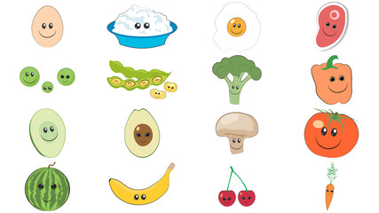 Foods cute characters. Foods smile stickers set. Collection of smiling foods with faces