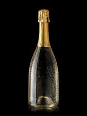 Fototapeta Full champagne bottle with drops obraz