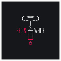 Wine red and white logo. Wine screw cap line icon