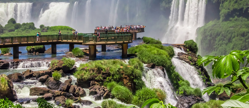 Tourists on the platform in Iguazu National Park, Argentina