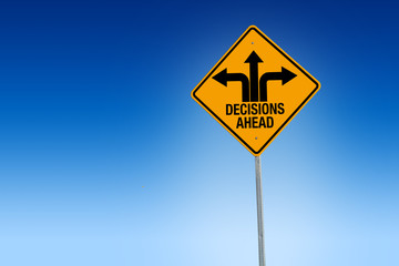 Fototapeta Descisions ahead road sign in warning yellow with blue background, - Illustration obraz
