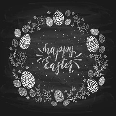 Eggs and Happy Easter on Black Chalkboard Background