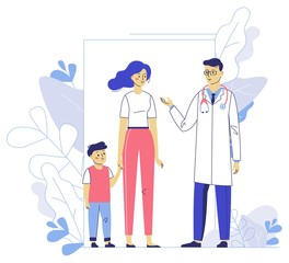 Medicine concept with doctor and family patients on plant background.