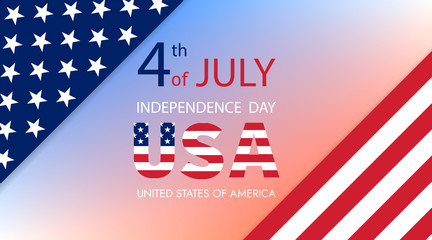 Fourth of July Independence Day of the USA . Abstract American flag. Independence Day. Greeting card.