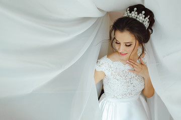 Portrait of a girl dressed in a white dress and a crown in her hair.