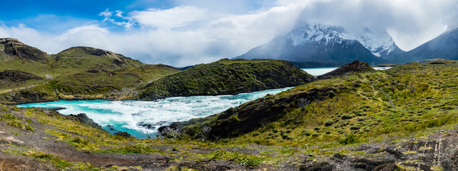 South America, Chile, Patagonia, View to Rio Paine, Torres del Paine National Park