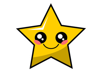 Cute star kawaii face vector illustration design isolated