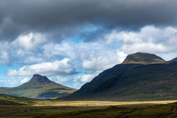 United Kingdom, Scotland, Scottish Highland, Sutherland, Ullapool, view to the mountains Stac Pollaidh and Cul Beag right