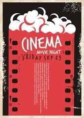 Cinema movie poster with film strip and pop corn. Movie night flyer template. Retro ad cinema concept on old paper textured background. Vintage vector illustration.